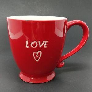 Starbucks 2006 Red Love Mug Footed Ceramic 15 Oz.